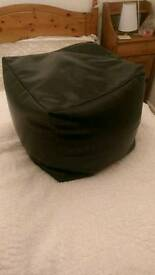Black faux leather stool cube
