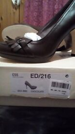 Leather ladies shoes chocolate colour