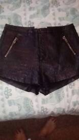 Leather look shorts size 12