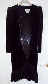 GENUINE VINTAGE ONE OF A KIND 1970s BLACK VELVET SEQUIN TAFFETA EVENING DRESS SIZE LARGE