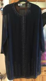 Brand New Never Worn Lyndella Womans Occassion Dress & Matching Cardigan/Shawl/Wrap In Navy Size 24.