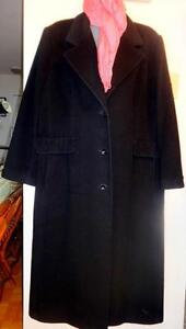 NEW Plus 22W Womans Black Wool Winter Coat // WORTHINGTON // LONG / XXL 2X / FREE PASHMINA SCARF / WIFE GIFT PRESENT