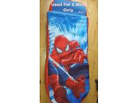Spiderman inflatable mattress with bedding and pillow in one.