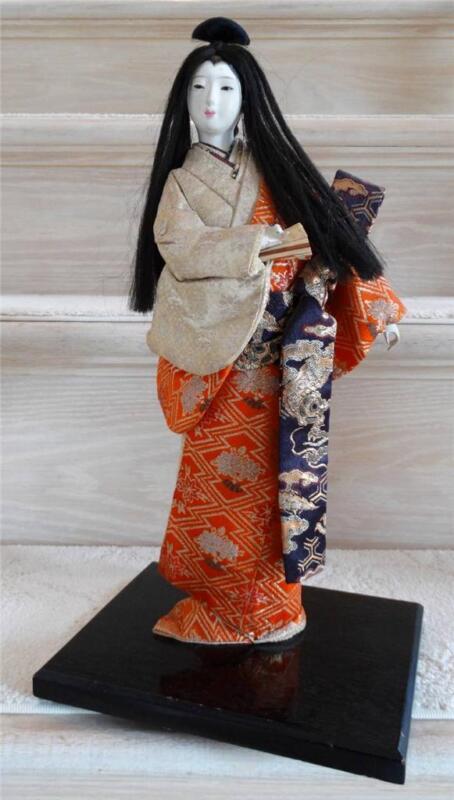 "Beautiful Antique Japanese Geisha in Kimono Doll Signed 15"""