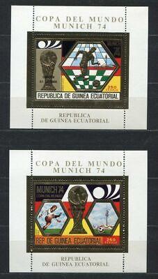 S5176) Guinea Ec. 1974 MNH Wc Football -cm FÚTBOL S/S X2 Gold...