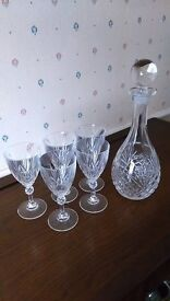 Crystal decanter and 5 glasses