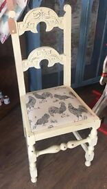Shabby Chic Cream Hen Cushion Chair