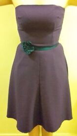 Women's Handmade Purple Strapless Dress UK size 10 w/ Belt & Matching Bag
