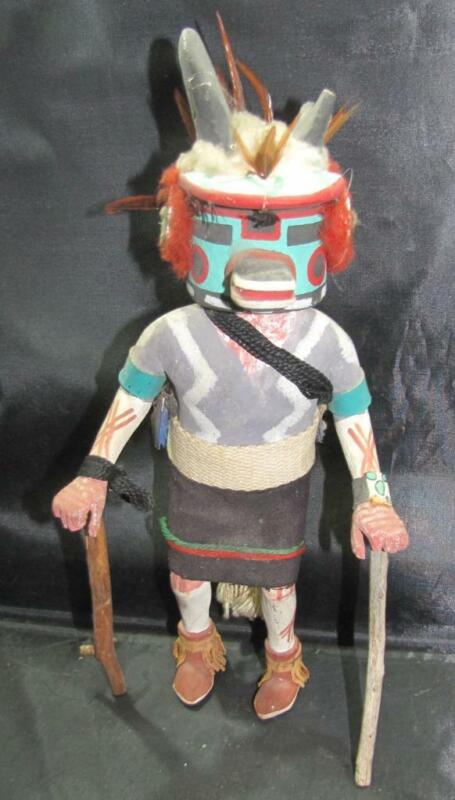 PRIMITIVE HAND CARVED WOODEN NATIVE AMERICAN KACHINA DOLL  (8)