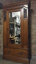 Beautiful Antique Wardrobe with Mirror Solid Wood