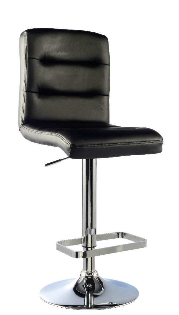 Two Bowden Executive Black Leather High Back Breakfast Bar Stools (r.r.p129.99in Hodge Hill, West MidlandsGumtree - New Unused Boxed Executive Bowden Bar Stools 41cm Width x 48cm Depth x 91cm 112cm Height Faux Leather Chrome Frame Feet Rest High Back