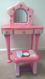 Girl's Pink Dressing Table and Mirror with matching Stool