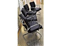 4X Black Reception Meeting Room Office Chairs