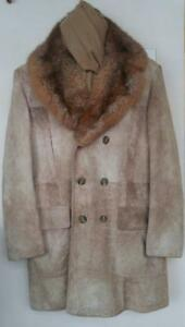 $1200 SUPERSOFT MENS 44 L TALL Suede Leather Fur Coat Australian Possum Retro Jeno De Paris Designer Canada Jacket