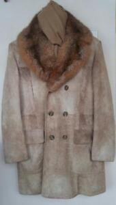 Oakville $1200 MENS Luxury Winter Coat 44 L TALL Long Suede Leather REAL Fur Retro Jeno De Paris Designer Canada Brown