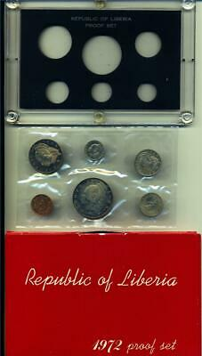 LIBERIA 1972 SIX PIECE PROOF SET in Original Sealed Packaging. (Ltd. Production)