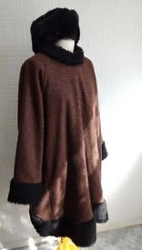 Exclusive Poncho Ladies winter coat (handmade) with John Lewis faux fur hat £100 ONO