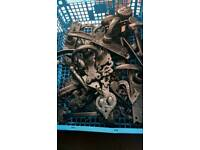 Job lot of cast iron Handel's and hinges
