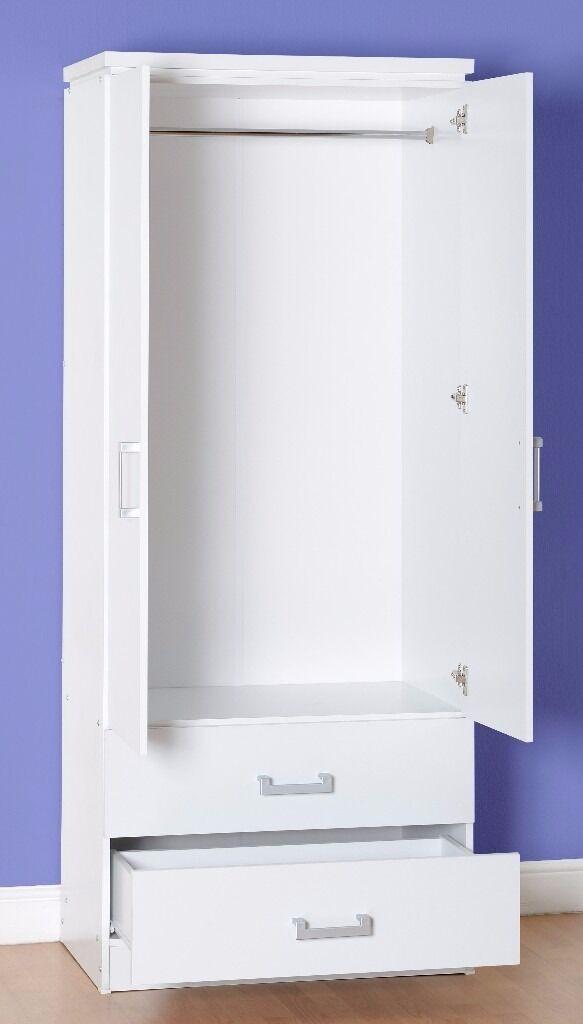 NEW Charles 2 door 2 drawer wardrobe in white or light oak effect only £139