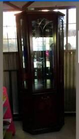 Beautiful Corner Display Glass cabinet Mahogany , Good Quality Mirrored RRP£320