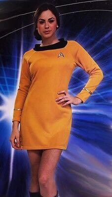 Commander Halloween Kostüme (Womens Lady STAR TREK Command Gold Dress Halloween Costume X-Small Small NEW)