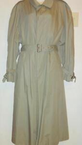 AQUASCUTUM Mens M 38 40 Long Khaki Trench Raincoat Coat Vintage Lightweight Beige