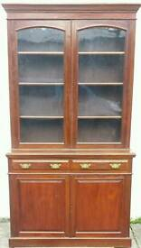 Antique victorian walnut library bookcase