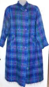 Womens L Long Mohair Coat Winter Retro D'Allairds Made in Canada Vtg Blue Purple Retro UK Wool Soft Warm Long Quality