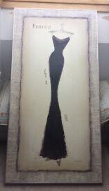 Wall Print Black French Dress Couture Paris Noir