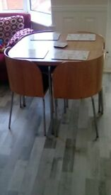 Ikea round compact table and 4 chairs