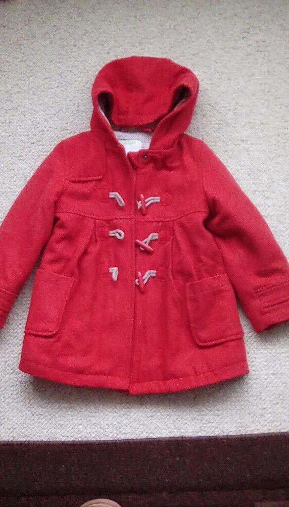 19244c29460f Red Vertbaudet Girls coat 108cm 4 years Winter Coat Jacket Fur lined ...