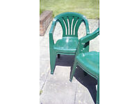 Dark Green Plastic Garden Chairs - Set of 4