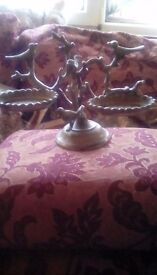 Metal bird feeder.