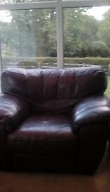 2seater brown leather sofa plus one armchair