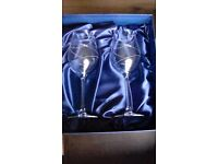 Pair of Diamante crystal wine glasses made with swarovski elements