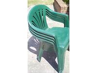 Dark Green Plastic Garden Chairs x 4