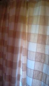 """1pair of tab top curtains, each curtain 90""""x90"""" biscuit/beige/white squares"""