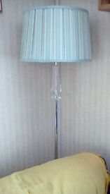 Floor lamp, duck egg blue with crystal detailing, heavy solid chrome base.