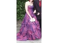 Maroon/purple beaded prom dress with matching shoes