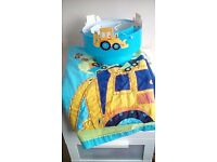 Little digger curtains duvet cover and lightshade
