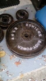 Cast iron weights (total 165kg)