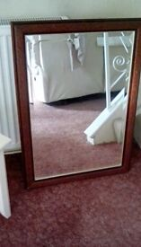 Mirror Large with Beautiful Detail scrolled Mahogany Wood Surround