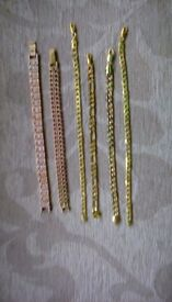 Ladies gold plated bracelets various designs.