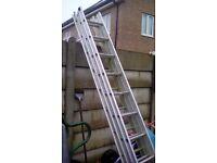 Triple set of aluminium ladders