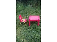 Red plastic table with red chair, £5.