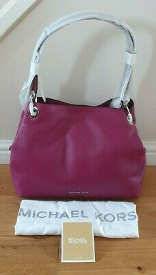 BNWT Michael Kors Raven Garnet / Silver Large Leather Shoulder Bag - RRP £285