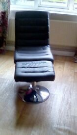 Swivel Chair with Footstool Brown Faux Leather Round Chrome Support to chair and footstool