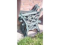 Wrought iron end's for table, bench and chair.