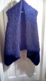 Black furry fleece waistcoat