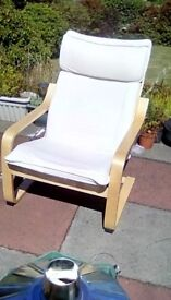 Cream poang style chair light wood. £10